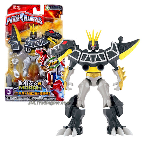 Bandai Year 2015 Saban's Power Rangers Mixx N Morph Series 7 Inch Tall Action Figure - Dino Charge BLACK T-REX RANGERZORD
