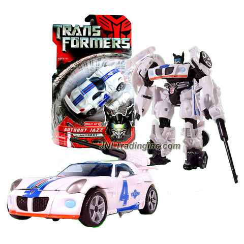 "Year 2007 Hasbro Transformers 1st Movie Series Exclusive Deluxe Class 6"" Tall Figure - Autobot Jazz with Exclusive G1 Deco (Vehicle : White Pontiac Solstice)"