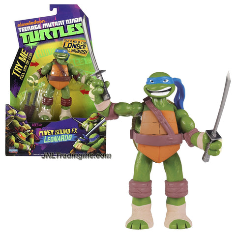 "Playmates Year 2013 Nickelodeon Teenage Mutant Ninja Turtles ""Power Sound FX"" Series 6 Inch Tall Electronic Action Figure - LEONARDO with Battle Sounds Plus Twin Katana Swords"