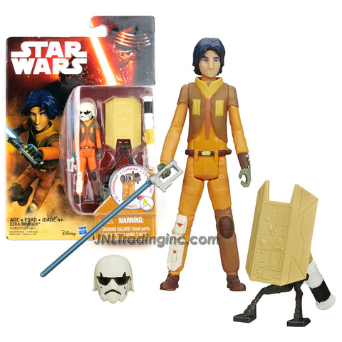 "Hasbro Year 2015 Star Wars Rebels Series 3-1/2"" Tall Figure - EZRA BRIDGER with Blue Lightsaber, Removable Stormtrooper Helmet Plus Build A Weapon Part #3"