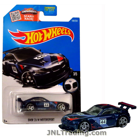 Hot Wheels Year 2015 Scan & Race Series 1:64 Scale Die Cast Car Set #188 - Blue Color Roadster BMW Z4 M Motorsport (3/5) DHR82
