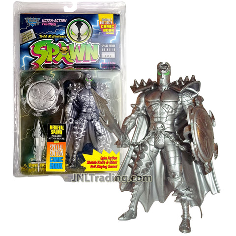 Year 1995 McFarlane Toys Spawn Special Edition Series 6 Inch Tall Figure - MEDIEVAL SPAWN with Spin Action Shield, Giant Evil Slaying Sword and Comic Book