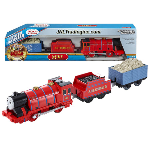 "Fisher Price Year 2015 Thomas and Friends ""Sodor's Legend of the Lost Treasure"" Series Trackmaster Motorized Railway 3 Pack Train Set - MIKE the Strong Red Engine (CDB77) with 2 Cars and 1 Removable Cargo"