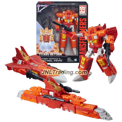 Hasbro Year 2015 Transformers Generations Titans Return Voyager Class 7 Inch Tall Figure - AUTOBOT INFINITUS and SENTINEL PRIME with Blasters and Card (Alt Mode: Jet and Train)