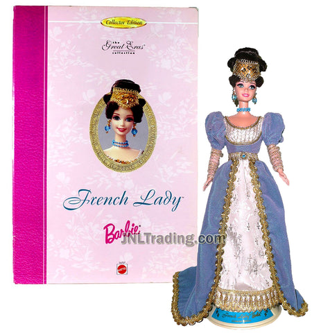 Year 1993 Barbie Collector Edition The Great Eras Series 12 Inch Doll - FRENCH LADY in Elegant Gown with Headpiece, Earrings, Necklace and Doll Stand