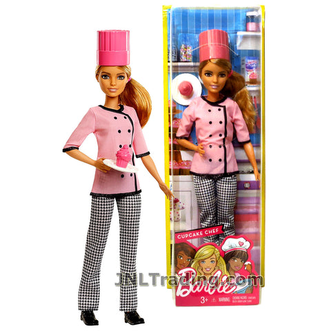 Barbie Year 2016 Career Series 12 Inch Doll - BARBIE as CUPCAKE CHEF FMT47 with Chef Hat and Cupcake on the Plate