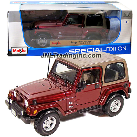 "Maisto Special Edition Series 1:18 Scale Die Cast Car -  Maroon Sports Utility Vehicle JEEP WRANGLER SAHARA (SUV Dimension: 8"" x 3-1/2"" x 3-1/2"")"