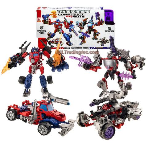 Hasbro Year 2013 Transformers Construct-Bots Series 6 Inch Tall 2 Pack Ultimate Class Robot Action Figure Set #E1:01 - Autobot OPTIMUS PRIME with Vehicle Mode as Rig Truck versus Decepticon MEGATRON with Vehicle Mode as Battle Tank (Total Pieces: 135)