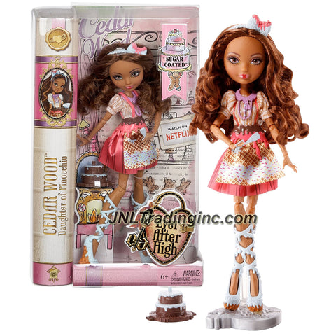 Mattel Year 2014 Ever After High Sweet Series 11 Inch Doll Set - Daughter of Pinocchio CEDAR WOOD (CHW46) with Cake, Spatula, Hairbrush & Doll Stand