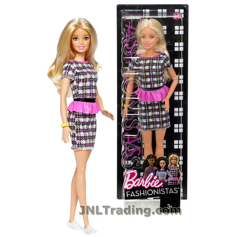 Barbie Year 2016 Fashionistas Series 12 Inch Doll - Caucasian BARBIE DYY88 in Plaid Peplum Power Dress with Bracelet