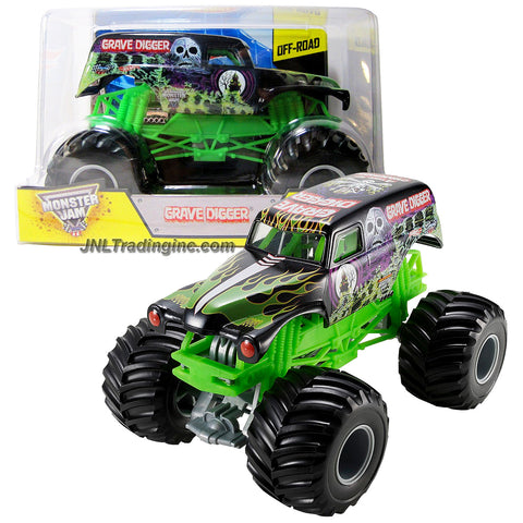 "Hot Wheels Year 2013 Monster Jam 1:24 Scale Die Cast Official Monster Truck Series - Bad to the Bone 4 Time Champion GRAVE DIGGER (CCB06) with Monster Tires, Working Suspension and 4 Wheel Steering (Dimension - 7"" L x 5-1/2"" W x 4-1/2"" H)"