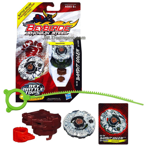 Hasbro Year 2013 Beyblade Shogun Steel Bey Battle Tops with Synchrome Technology - Defense DF145BS SS-20 BANDIT GOLEM with Shogun Face Bolt, Golem Warrior Wheel, Bandit Element Wheel, DF145 Spin Track, BS Performance Tip and Ripcord Launcher Plus Online Code
