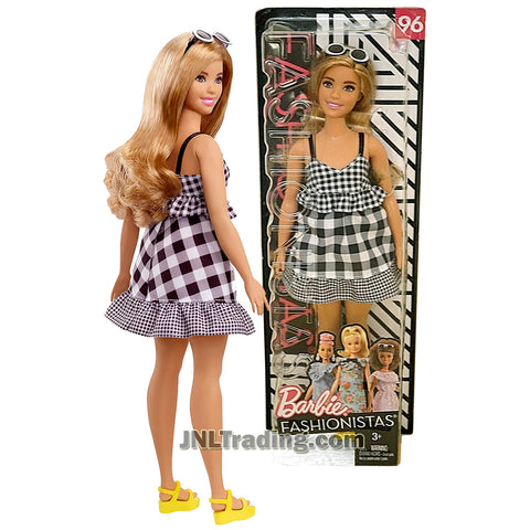 Barbie Year 2017 Fashionistas Series 12 Inch Doll Set #96 - Hispanic Curvy BARBIE FJF56 in Check Me Out Checker Dress with Sunglasses