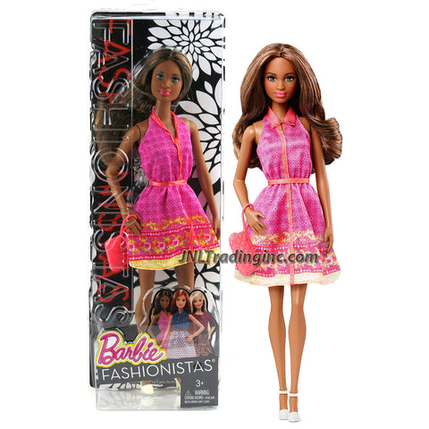 Mattel Year 2014 Barbie Fashionistas Series 12 Inch Doll - GRACE (DGF22) in Pink Neck Strap Dress with Purse