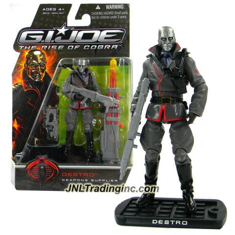 "Hasbro Year 2008 G.I. JOE Movie ""The Rise of Cobra"" Series 4 Inch Tall Action Figure - Weapon Supplier DESTRO with Submachine Gun, Electromagnetic Rifle, Gun, Flame Thrower, Flame Missile and Display Base"