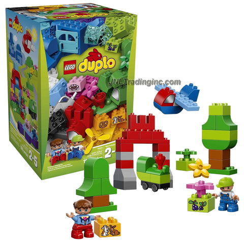 Lego Year 2015 Duplo Series Set #10622 - LARGE CREATIVE BOX with 3 Separate Landscapes (Train in the Mountain, Boat at the Port and Picnic at the House) Plus 2 Figures (Total Pieces: 193)