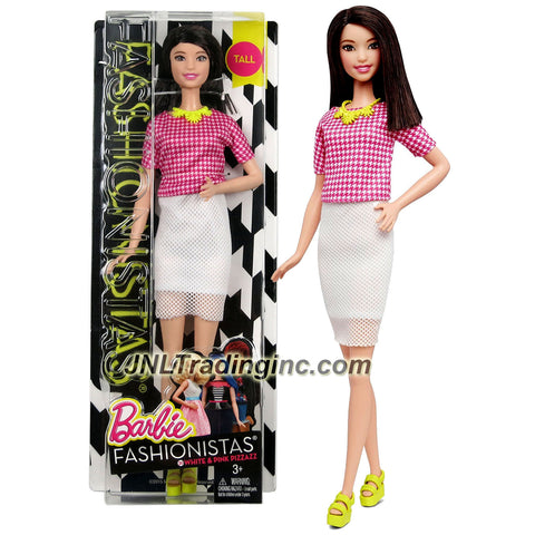 Mattel Year 2015 Barbie Fashionistas Series 12-1/2 Inch Doll - Brunette Long Hair TALL (DMF32) doll in Pink & White Houndstooth Top & White Mesh Pencil Skirt with Necklace