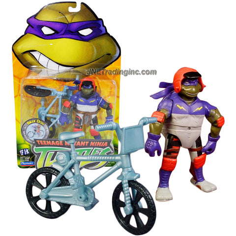 Playmates Year 2003 Teenage Mutant Ninja Turtles TMNT 5 Inch Tall Action Figure - BIKER DON aka DONATELLO with Stunt Extreme BMX Bike, Stunt Style Ninja Noggin Protector Helmet, Bo Staff and Stun Bike Racing Gear