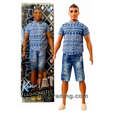 Barbie Year 2016 Ken Fashionistas Series 12 Inch Doll - Muscular Native American KEN FNJ38 in Blue Tribal Prints Shirt and Distressed Denim Shorts