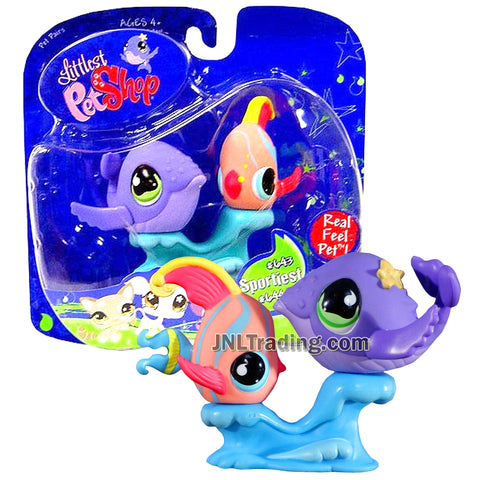 Year 2007 Littlest Pet Shop LPS Pet Pairs Sportiest Series Bobble Head Figure - Whale #644 and Angelfish #643 Plus Pedestal