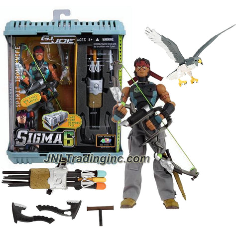 "Hasbro Year 2005 GI JOE Sigma 6 Series 8 Inch Tall Action Figure Set : SPIRIT IRON-KNIFE with Compound Bow, Liquid Nitrogen Arrow,  Electromagnetic Arrow, Incendiary Arrow, Combat Arrows, Knife, Quiver, Tomahawks, Weapon Case and Pet Falcon ""Billy"""