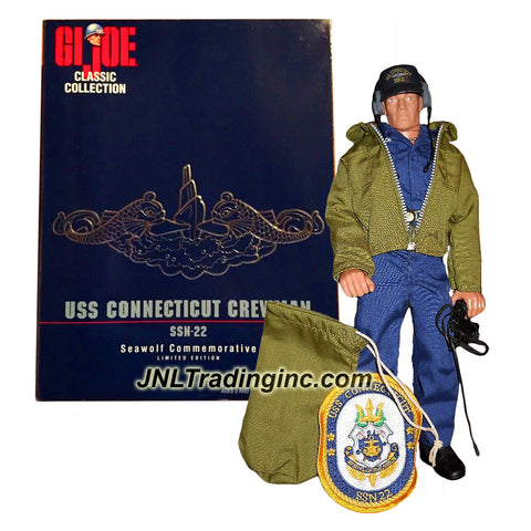 Hasbro Year 1998 G.I. JOE Limited Edition Classic Collection Series 12 Inch Tall Action Figure : SSN-22 Seawolf Commemorative USS CONNECTICUT CREWMAN (Hispanic) with Weather Jacket, Headset, Sea Bag, Tool Belt, Flashlight, USS Connecticut Hat, USS Connecticut Patch Plus Display Stand with Base