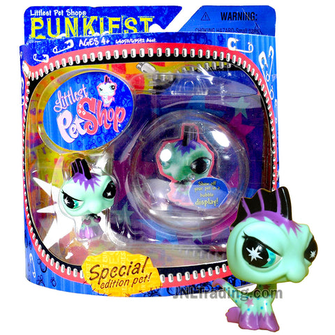 Year 2007 Littlest Pet Shop LPS Special Edition Funkiest Series Bobble Head Figure Set - IGUANA with Bubble Display