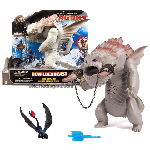"Spin Master Year 2014 Dreamworks ""How to Train Your Dragon 2"" Series 9-1/2 Inch Tall Electronic Dragon Figure Set - Final Battle BEWILDERBEAST with Roaring Sound, Ice Missile Launcher and 1 Missile Plus Mini Toothless Figure"