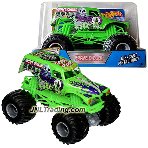 Hot Wheels Year 2016 Monster Jam 1:24 Scale Die Cast Metal Body Official Truck - 4 Time Champion Bad to the Bone GREEN GRAVE DIGGER (DJW92) with Monster Tires, Working Suspension and 4 Wheel Steering