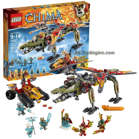 Lego Year 2015 Legends of Chima Series Battle Scene Set #70227 - KING CROMINUS' RESCUE with Cragger's Fire Helicroctor, Laval's Fire Tracker Plus Cragger, Laval, King Crominus, Strainor, Saraw and Icepaw Minifigure (Pieces: 863)