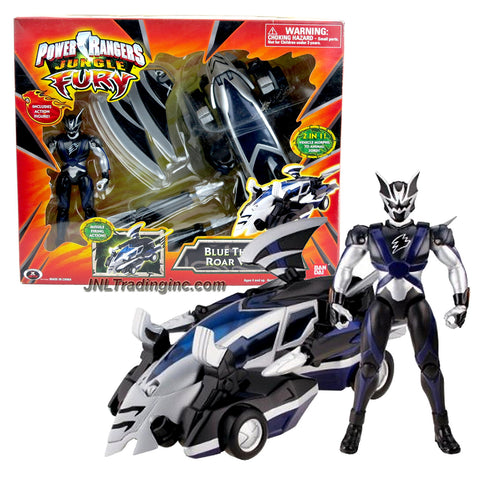 Bandai Year 2007 Power Rangers Jungle Fury Series 8 Inch Long Vehicle Set - BLUE THUNDER ROAR VEHICLE that Morph to Animal Zord Plus Bat Ranger
