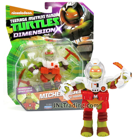 Year 2015 Teenage Mutant Ninja Turtles TMNT Dimension X Series 5 Inch Tall Figure - Space Traveler MICHELANGELO with Space Suit and Tonfas