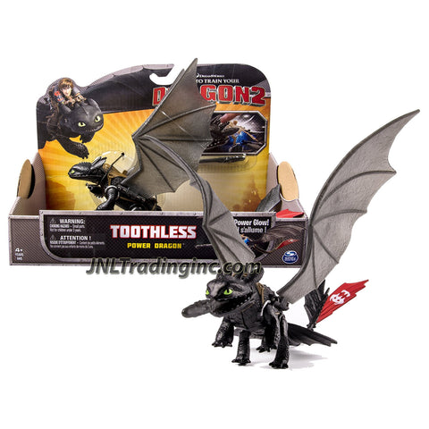 "Spin Master Year 2014 Dreamworks ""How to Train Your Dragon 2"" Series 9 Inch Long Figure - Power Glow Dragon TOOTHLESS with Glowing Feature and 1 Missile"