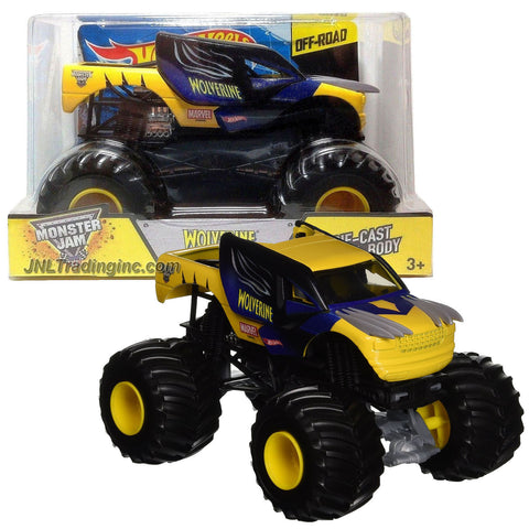 Hot Wheels Year 2014 Monster Jam 1:24 Scale Die Cast Metal Body Official Monster Truck Series #CHV13 - WOLVERINE with Monster Tires, Working Suspension and 4 Wheel Steering