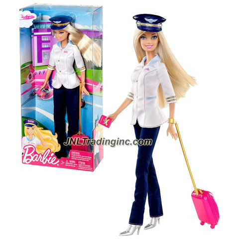 Mattel Year 2013 Barbie I Can Be Series 12 Inch Doll Set - PILOT Barbie (W3739) with Pilot Hat and Rolling Suitcase