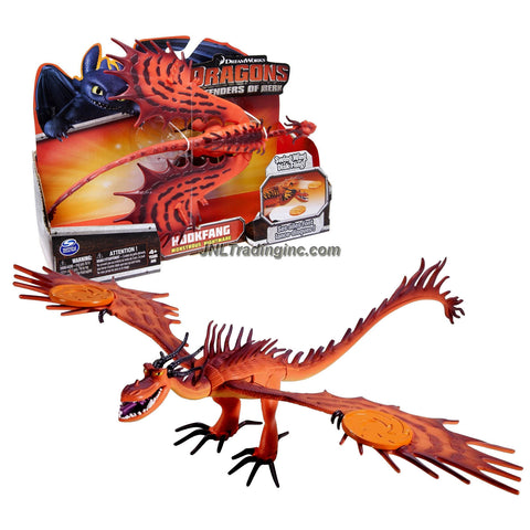 "Spin Master Year 2013 Dreamworks Movie Series ""DRAGONS - Defenders of Berk"" 12 Inch Long Dragon Figure - Monstrous Nightmare HOOKFANG with Swing Wing Disk Fling"