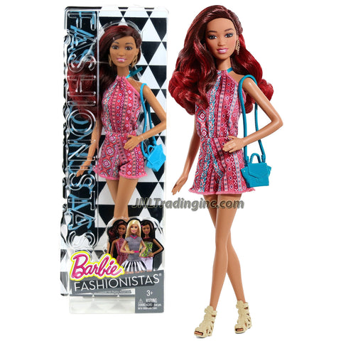 Mattel Year 2014 Barbie Fashionistas Series 12 Inch Doll - GRACE (CLN63) in Pink Neck Strap Jumpsuit with Earrings and Purse