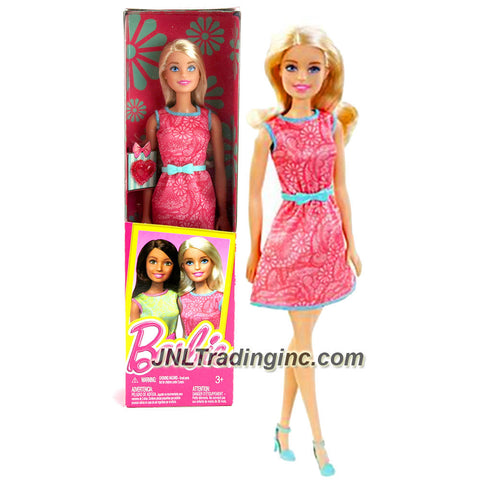 Mattel Year 2015 Barbie Friends Series 12 Inch Doll - BARBIE (DGX62) in Pink Dress with Blue Belt and Pink Heart Accessory