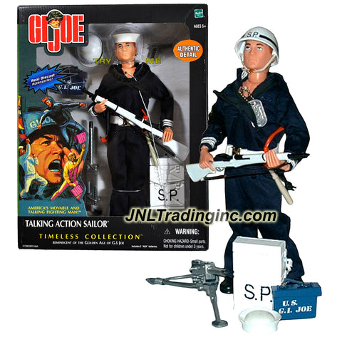Hasbro Year 2002 G.I. JOE Timeless Collection Series 12 Inch Tall Soldier Figure - TALKING ACTION SAILOR with S.P. Armband, Sailor Cap, Helmet, .30 Caliber Machine Gun with Tripod, U.S.N. Ammo Box, .45 Caliber Pistol with Holster, Field Radio, Billy Club, M-1 Rifle with Strap and Dog Tag with Chain