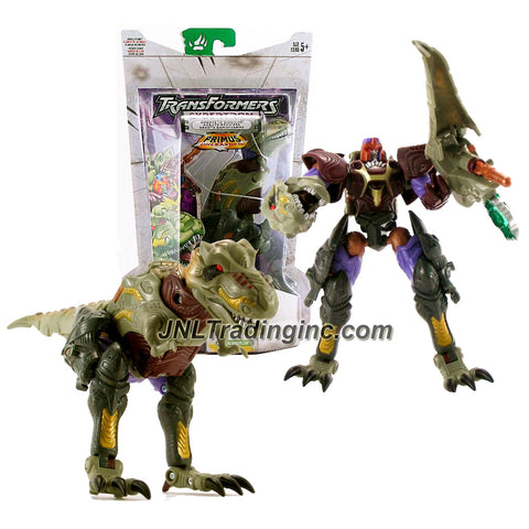 Hasbro Year 2006 Transformers Cybertron Series 6 Inch Tall Robot Action Figure - Decepticon MEGATRON with Hidden Missile Launcher, 1 Missile and Jungle Planet Cyber Key (Beast Mode: Tyrannosaurus Rex)