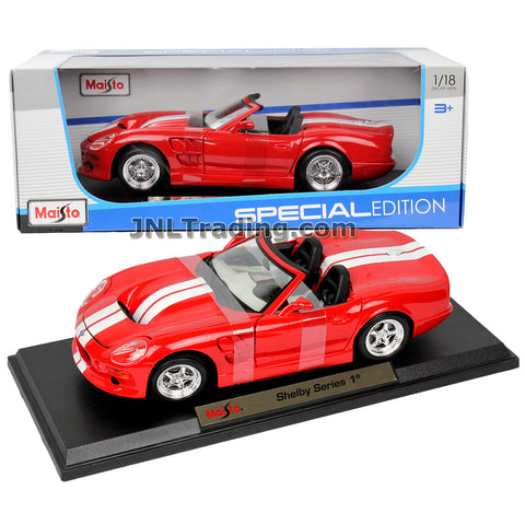 Maisto Special Edition Series 1:18 Scale Die Cast Car Set - Red High Performance Roadster SHELBY SERIES 1 with White Stripes and Display Base