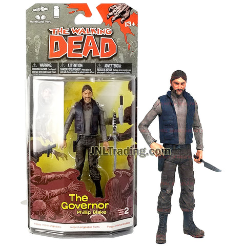 Year 2013 AMC TV Series Walking Dead 5 Inch Tall Figure - THE GOVERNOR PHILLIP BLAKE with Alternative Head, Arm, Knife, Gun and Katana Sword