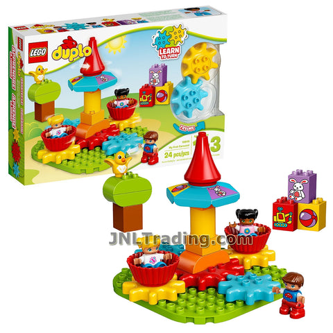 Lego Year 2017 Duplo Series Set #10845 - MY FIRST CAROUSEL with Turning Gearwheels, Two Seats, Tree, Bird and Three Child Figure (Pieces: 24)