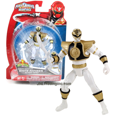 Bandai Year 2014 Power Rangers Super Megaforce Series 5 Inch Tall Action Figure - Hero Tommy Oliver aka Mighty Morphin WHITE RANGER with Saba Sword