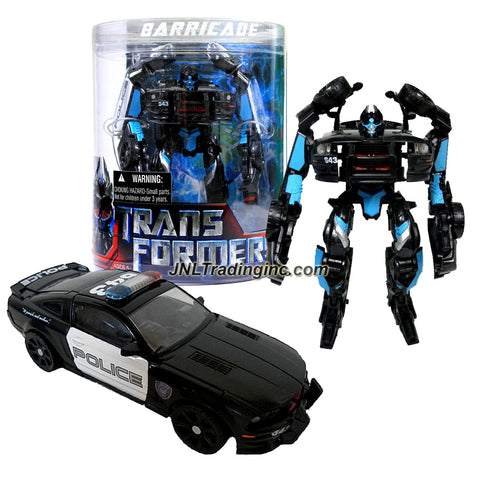 Hasbro Year 2007 Transformers Movie Series 1 Exclusive Canister Deluxe Class 6 Inch Tall Robot Action Figure - Decepticon BARRICADE with Spring Loaded Punch Attack and Decepticon Frenzy (Vehicle Mode: Saleen S281 Police Car)