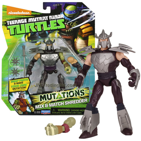 "Playmates Year 2014 Teenage Mutant Ninja Turtles TMNT ""Mutations Mix and Match"" Series 5 Inch Tall Action Figure - SHREDDER with 2 Throwing Stars, Katana Sword and 1 Extra Turtle Left Arm"