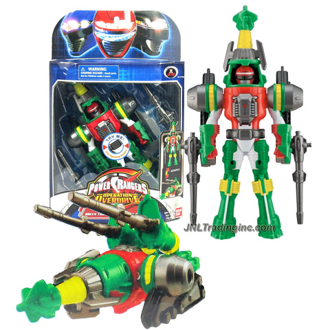 Bandai Year 2007 Power Rangers Operation Overdrive Series 8 Inch Tall Action Figure - TURBO DRILL GREEN POWER RANGER that Morphs to Green Drill Driver