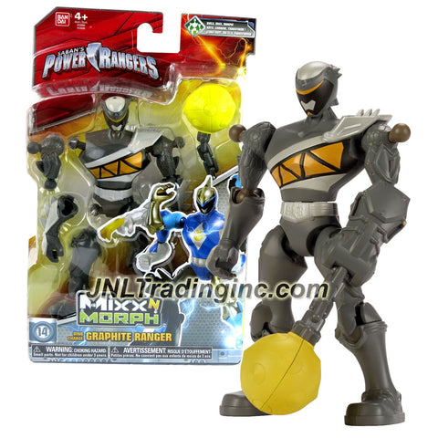 Bandai Year 2015 Saban's Power Rangers Mixx N Morph Series 7 Inch Tall Action Figure - Dino Charge GRAPHITE RANGER with Chained Ball