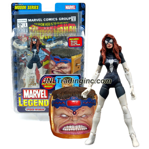 ToyBiz Year 2006 Marvel Legends Modok Series 6 Inch Tall Action Figure - Variant Black Costume SPIDER-WOMAN (ARACHNE) with 26 Points of Articulation, Diorama, Comic Book and Modok's Head