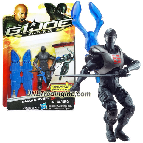 "Hasbro Year 2011 G.I. JOE Movie Series ""Retaliation"" 4 Inch Tall Action Figure - SNAKE EYES with 5 Feet String Zip Line, Wings with Missile Launcher, Katana Blade and Submachine Gun"